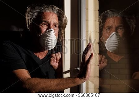 Coronavirus Crying Male Medical Mask Quarantine, Self Isolation Concept, Depressed Distraught Mans R
