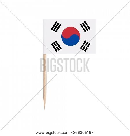 Miniature paper flag South-Korea. Isolated South Korean toothpick flag pointer on white background.