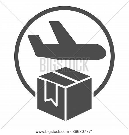 Airmail And Cardboard Package Solid Icon, Delivery And Logistic Symbol, Air Freight Carrier With Par