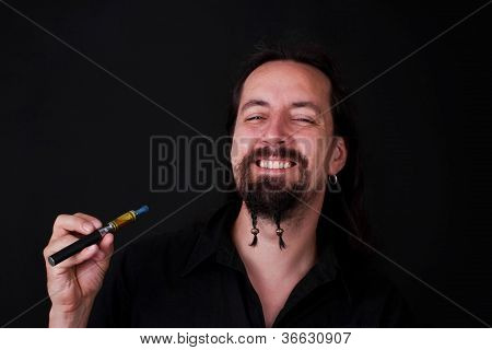Attrictiv Man Smoking Electric Cigarette