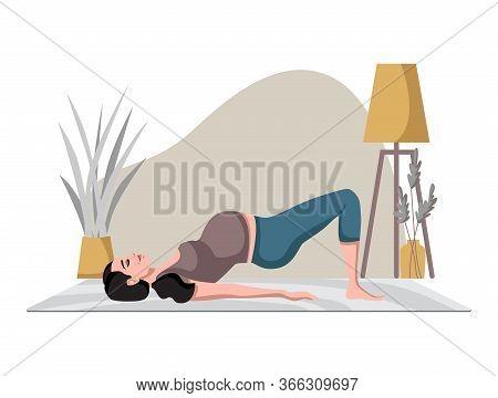 Pregnant Female In Sportswear Doing Yoga In Cozy Calm Room In Modern Home. Yoga For Pregnant. Medita