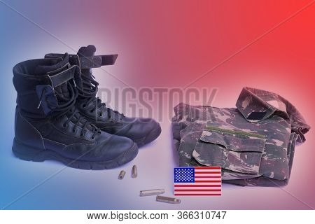 Memorial Day Backdrop, Background For Poster. Soldier Stuff. Boots, Military Jacket Related To Memor