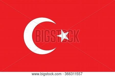 Turkey Flag Vector Graphic. Rectangle Turkish Flag Illustration. Turkey Country Flag Is A Symbol Of