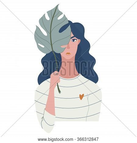Young Pretty Serious Woman Holding Monstera Leaf, Hiding Her Face Behind It, Flat Cartoon Raster Ill