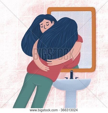 Woman Hugging With Her Reflection In Bathroom Mirror, Self-acceptance, Self Care Concept, Raster Ill