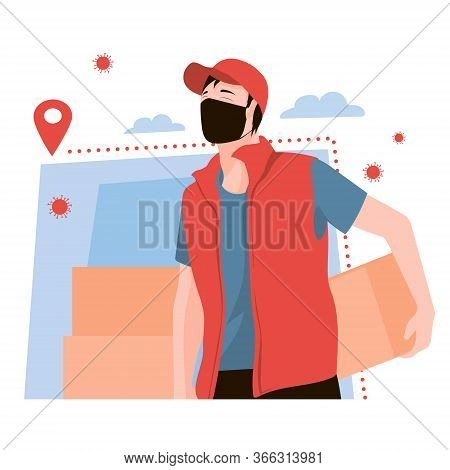Masked Courier In Uniform With Two Parcels. Parcel Delivery In Coronavirus Epidemic, Speedy Service.