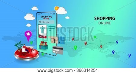 Shopping Online On Website Or Mobile Application  ,vector