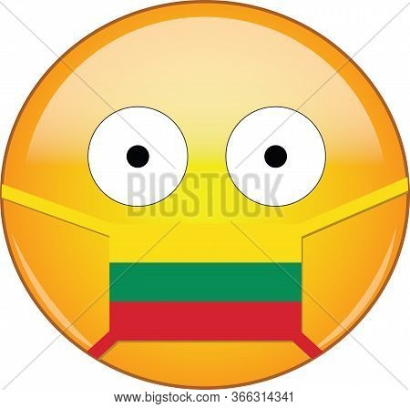 Yellow Scared Emoji In Lithuanian Medical Mask Protecting From Sars, Coronavirus, Bird Flu And Other