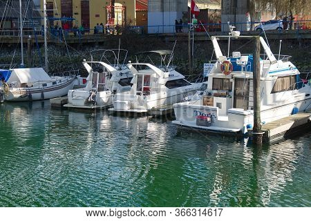 Vancouver, Canada - February 29, 2020: View Of Boat Rentals Dock Near Granville Island In Downtown V