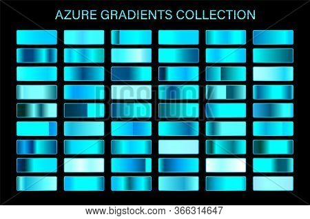 Azure Glossy Gradient, Metal Foil Texture. Color Swatch Set. Collection Of High Quality Vector Gradi