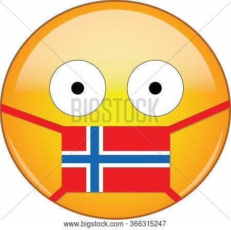 Yellow Scared Emoji In Norwegian Medical Mask Protecting From Sars, Coronavirus, Bird Flu And Other
