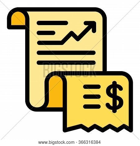 Paper Expense Report Icon. Outline Paper Expense Report Vector Icon For Web Design Isolated On White