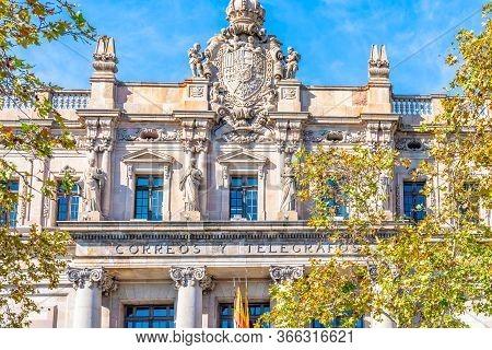 Barcelona, Spain - November 07 2018: The Central Post Office Building (correos Y Telégrafos) Designe