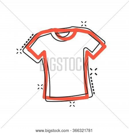 Tshirt Icon In Comic Style. Casual Clothes Cartoon Vector Illustration On White Isolated Background.