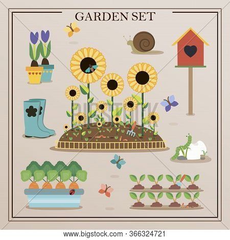 Flat Icons With Gardening Concept. A Set Of Flat Images Of Garden Items. Flowers, Seedlings, Shovel,