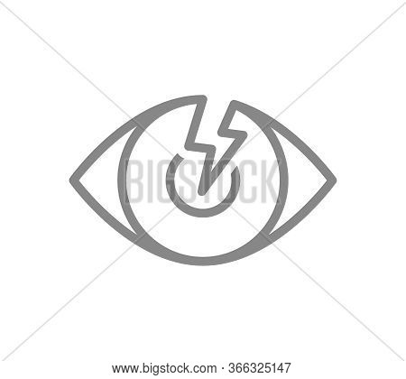 Human Eye With Acute Pain Line Icon. Visual Organ Disease Symptom, Blindness Symbol