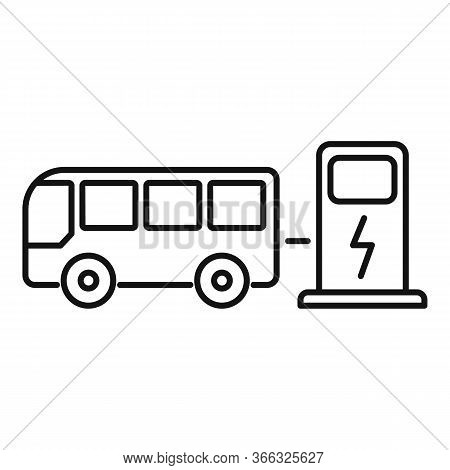 Bus Electrical Refueling Icon. Outline Bus Electrical Refueling Vector Icon For Web Design Isolated