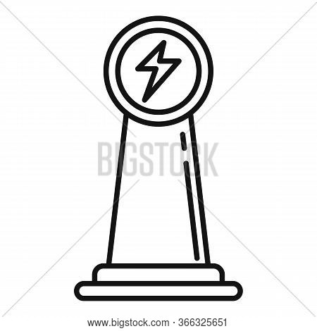 Electrical Refueling Pillar Icon. Outline Electrical Refueling Pillar Vector Icon For Web Design Iso