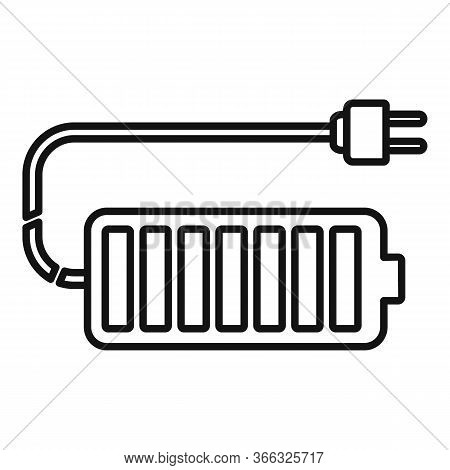 Full Car Battery Icon. Outline Full Car Battery Vector Icon For Web Design Isolated On White Backgro