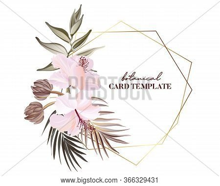 Tropical Exotic Flowers Frangipani Hibiscus Palm Green Leaves, Floral Buds And Pink Bloom. Wild Arra