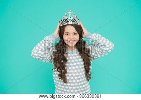 Ready For Prom Night. Happy Child Wear Prom Crown. Prom Girl Blue Background. Coronation Party. Holi