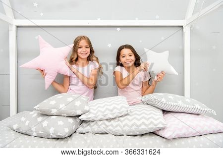 Happy Morning. Cute Cozy Bedroom For Small Girls. Sisters Having Fun Bedroom Interior. Childhood Con