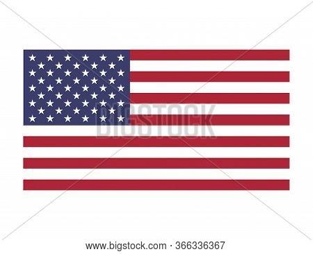 American National Flag. Us Symbol. Illustration Of United States Emblem. Patriotic Background Of Ind