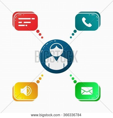 Communication Icons, Business Communication Icons, Signs, Vector Illustration