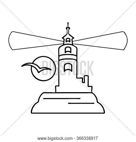 Lighthouse Icon Isolated On White Background. Outline Lighthouse Logo For Web Design. Lighthouse Sea