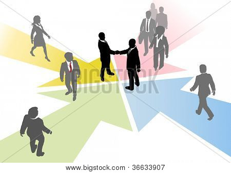 Business people connect to collaborate or team up on converging arrows