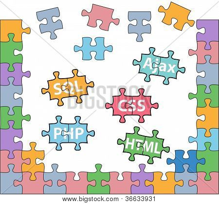 HTML PHP CSS SQL jigsaw puzzle pieces in internet web development solutions