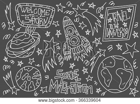 Doodle Line Vector Illustration Isolated On Dark Background. Space Migration Concept. Earth, Saturn,