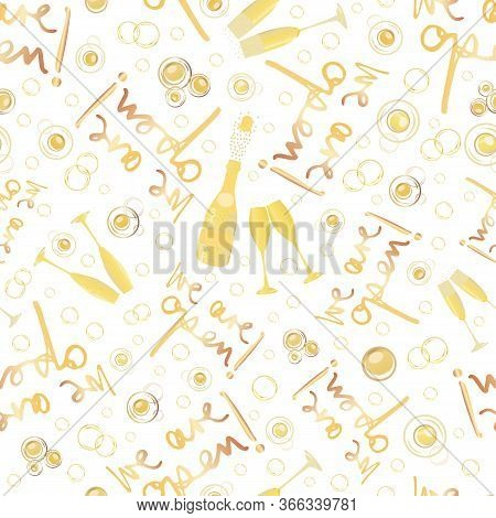 Champagne Icons Business Opening Vector Seamless Pattern Background. Text, Fizzing Bubbles, Glasses,