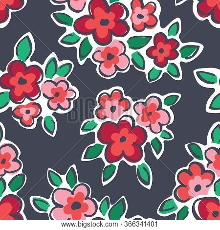 Colorful Hand Drawn Artistic Naive Daisy Flowers On Grey Background Vector Seamless Pattern. Blob Bl