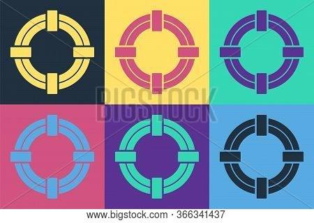 Pop Art Lifebuoy Icon Isolated On Color Background. Life Saving Floating Lifebuoy For Beach, Rescue