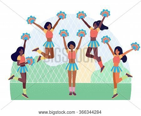 Afro American Cheerleading Girl Team. Football Or American Soccer Support Flat Cartoon Character. Ve