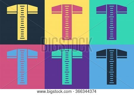 Pop Art T-square Line For Professional Drafting Icon Isolated On Color Background. Vector