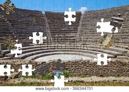 Assorted Jigsaw Puzzle Of Small Amphitheater In Pompeii, Italy On A Summer Sunny Day
