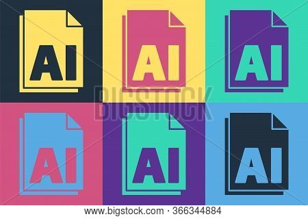 Pop Art Ai File Document. Download Ai Button Icon Isolated On Color Background. Ai File Symbol. Vect