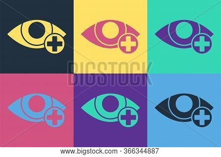 Pop Art Red Eye Effect Icon Isolated On Color Background. Eye Redness Sign. Inflammatory Disease Of