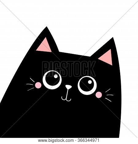 Cat In The Corner. Cute Cartoon Kawaii Funny Sad Face Character. Black Silhouette. Pet Baby Collecti