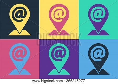 Pop Art Location And Mail And E-mail Icon Isolated On Color Background. Envelope Symbol E-mail. Emai