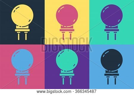 Pop Art Light Emitting Diode Icon Isolated On Color Background. Semiconductor Diode Electrical Compo
