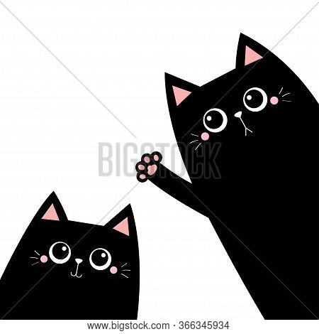 Cat Set. Black Silhouette. Waving Hand. Pink Paw Print. Cute Cartoon Kawaii Funny Sad Face Character