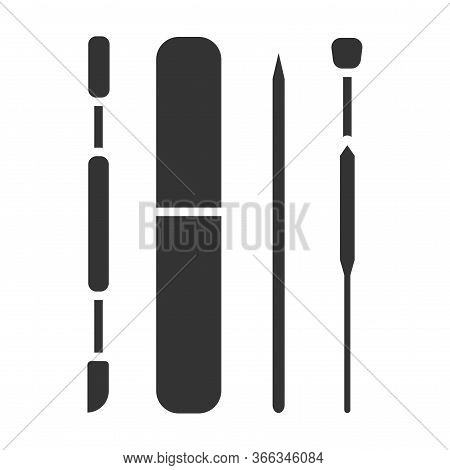 Manicure And Pedicure Instruments Black Glyph Icon. Tools: Pusher, Nail File. Nail Service. Beauty I
