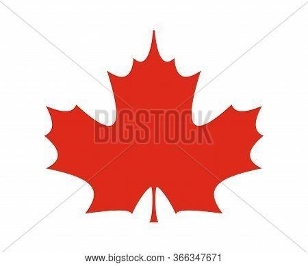 Red Maple Leaf Icon. Vector Symbol Of Canada, Fall Season, Knowledge, School, Autumn, Nature, Ecolog
