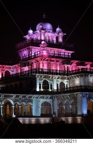 Jaipur, India - December 12, 2019: The Illuminated Albert Hall At Night.