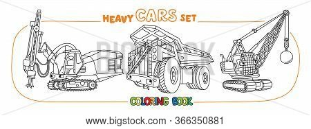 Crushing Equipment And Dump Truck. Coloring Book