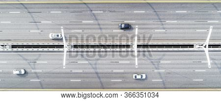 Aerial View Of Highway. Cars Crossing Bridge Interchange Overpass. Highway Interchange With Traffic.