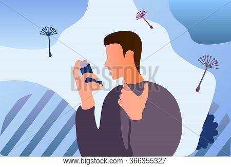 Asthma Inhaler Help Allergic Man. World Asthma Day. Allergy, Asthmatic. Inhalation Medicine. Flat Ve